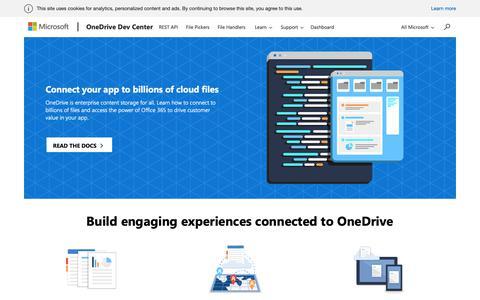 Screenshot of Developers Page microsoft.com - OneDrive Dev Center - captured Nov. 28, 2018