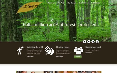 Screenshot of Home Page wildsouth.org - Wild South - captured Sept. 26, 2014
