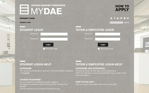 Screenshot of Login Page designacademy.nl - Login - captured Oct. 5, 2014