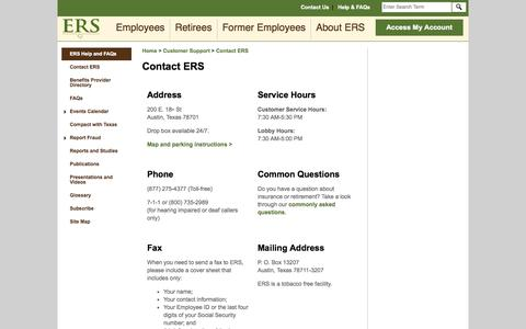 Screenshot of Contact Page Maps & Directions Page state.tx.us - Contact ERS - captured Oct. 22, 2014