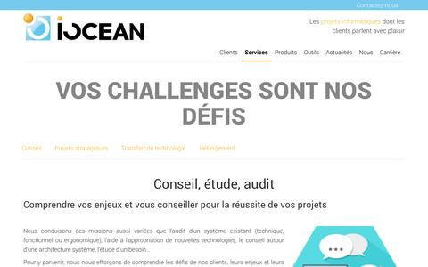 Screenshot of Services Page iocean.fr - IOCEAN: Vos challenges sont nos défis - captured Sept. 30, 2014