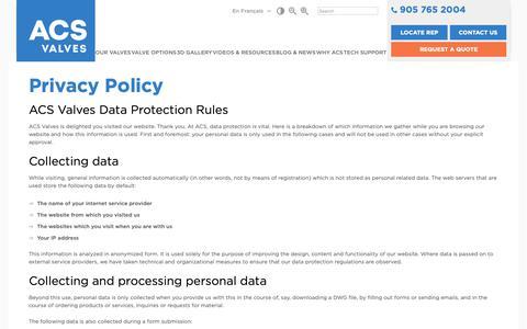 Screenshot of Privacy Page acsvalves.com - Privacy | ACS Valves - captured Nov. 6, 2018