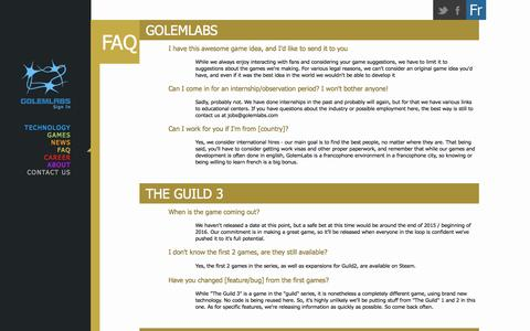 Screenshot of FAQ Page golemlabs.com - GolemLabs - captured Jan. 31, 2016