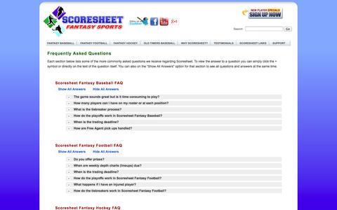 Screenshot of FAQ Page scoresheet.com - Scoresheet Fantasy Sports Frequently Asked Questions - captured Sept. 25, 2014