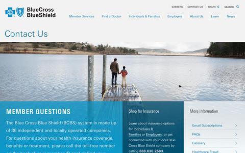 Screenshot of Contact Page bcbs.com - Contact Us | Blue Cross Blue Shield - captured Feb. 24, 2018