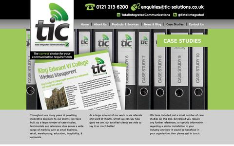 Screenshot of Case Studies Page tic-solutions.co.uk - Total Integrated Communications  » Case Studies - captured Oct. 1, 2014