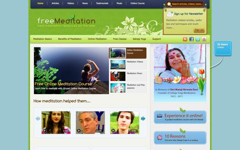 Screenshot of Home Page freemeditation.com - Free meditation | Learn how to meditate and enjoy the benefits! - captured Oct. 27, 2017