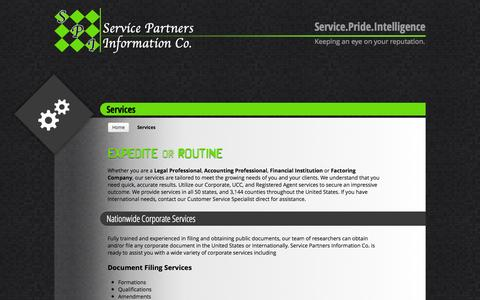 Screenshot of Services Page servicepartnersco.com - Services - captured Oct. 26, 2014