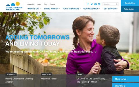 Screenshot of Home Page cff.org - Homepage | CF Foundation - captured Jan. 12, 2016