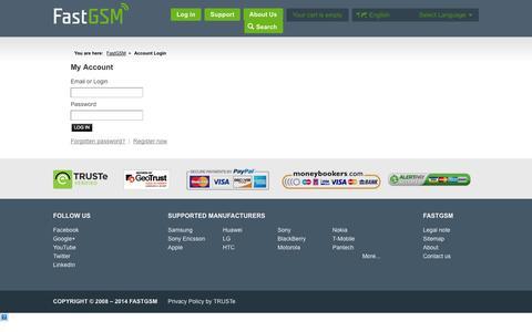 Screenshot of Login Page fastgsm.com - Login | FastGSM - captured Sept. 23, 2014
