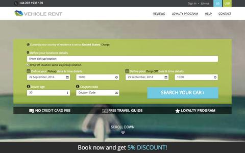 Screenshot of Home Page vehicle-rent.com - Vehicle Rent - the best worldwide car hire deals on web - captured Sept. 19, 2014