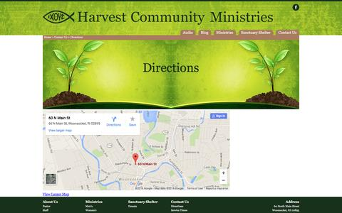 Screenshot of Maps & Directions Page harvestcommunity.net - Directions | Contact Us | Harvest Community Ministries - captured Jan. 26, 2016