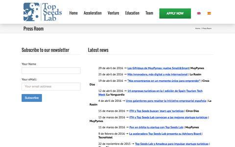 Screenshot of Press Page topseedslab.com - Press Room | Top Seeds Lab - captured Aug. 18, 2016
