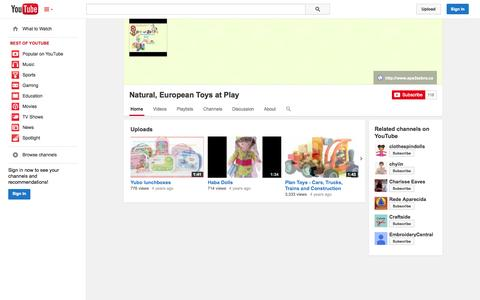 Screenshot of YouTube Page youtube.com - Natural, European Toys at Play  - YouTube - captured Oct. 23, 2014