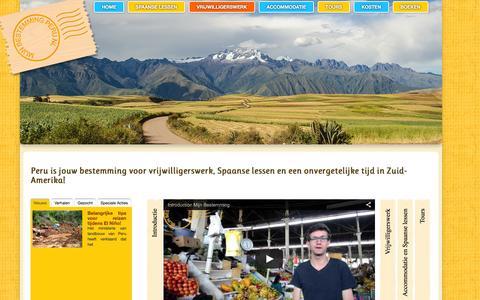 Screenshot of Home Page mijnbestemmingperu.nl - Mijn Bestemming Peru - Spaans leren en vrijwilligerswerk - captured Feb. 22, 2016
