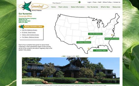 Screenshot of Locations Page greenleafnursery.com - Greenleaf Nursery Divisions - captured Nov. 15, 2016