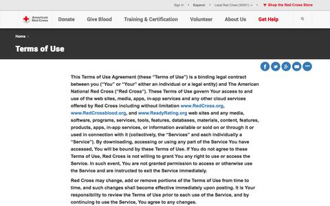 Screenshot of Terms Page redcross.org - Terms of Use | American Red Cross | Intellectual Property - captured Oct. 25, 2017