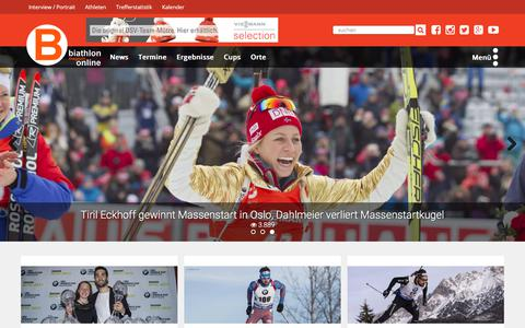 Screenshot of Home Page biathlon-online.de - biathlon-online.de - Das Biathlon Portal in Deutschland - Infos, Interviews und Portraits. Alles rund um den Biathlonsport auf Biathlon Online - captured July 1, 2017
