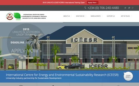 Screenshot of Home Page iceesr.org.ng - ICEESR UNIUYO | International Center for Energy and Environmental Sustainability Research - captured Sept. 2, 2015