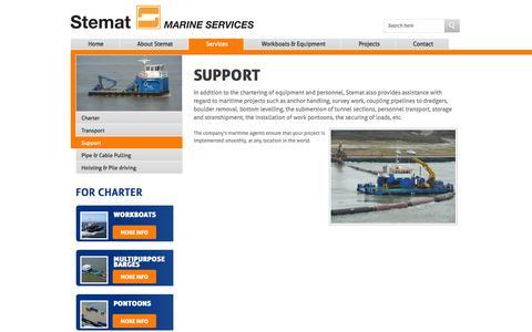 Screenshot of Support Page stemat.com - Support - Stemat Marine Services - captured Oct. 7, 2014