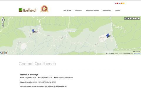 Screenshot of Contact Page qualibeech.com - Contact Qualibeech: sawmill beech - captured Oct. 1, 2014