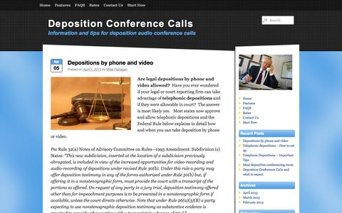 Screenshot of Blog deposition-conference-call.com - Deposition Conference Calls - Information and tips for deposition audio conference callsDeposition Conference Calls | Information and tips for deposition audio conference calls - captured Oct. 5, 2014