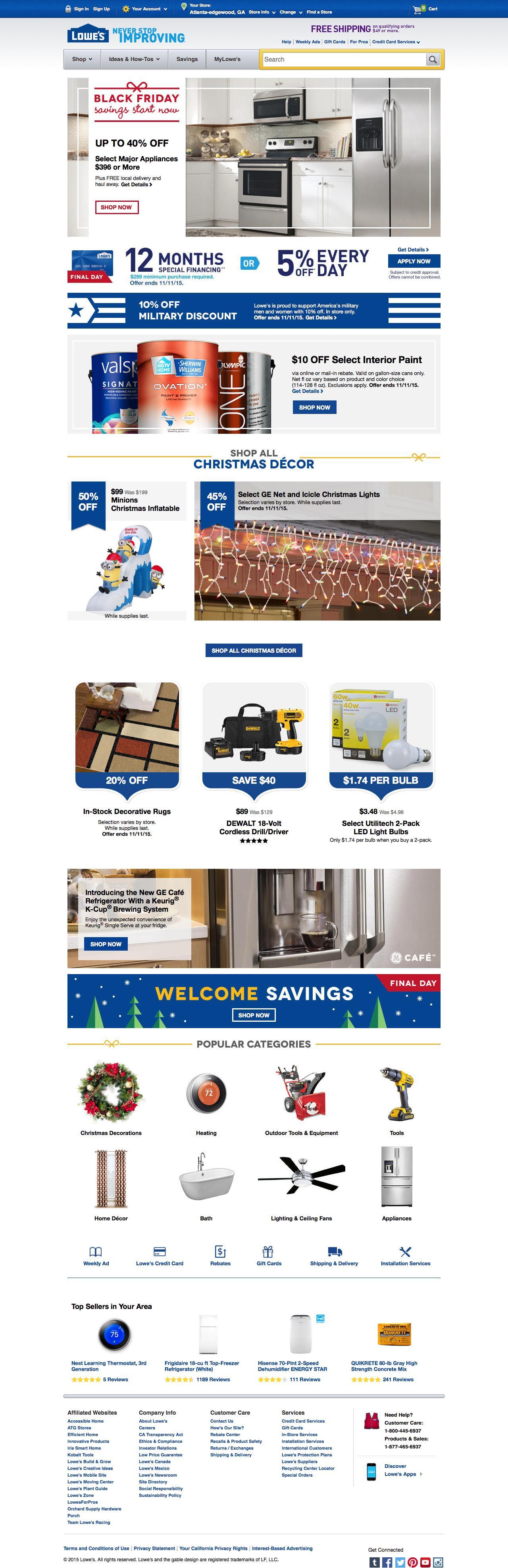 Screenshot of lowes.com - Lowe's Home Improvement: Appliances, Tools, Hardware, Paint, Flooring - captured Nov. 11, 2015