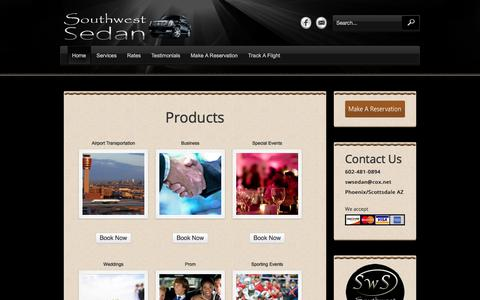 Screenshot of Products Page swsedan.net - Products «  Southwest Sedan - captured Oct. 23, 2017