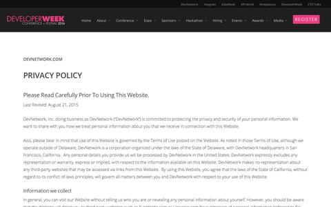 Screenshot of Privacy Page developerweek.com - Privacy Policy |  DeveloperWeek 2016 | February 12-18 - captured March 4, 2016