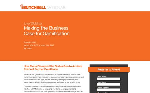 Screenshot of Landing Page bunchball.com - Making the Business Case for Gamification - captured May 31, 2017