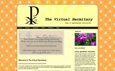 Screenshot of Home Page amyjogarner.com - The Virtual Hermitary - captured Oct. 6, 2014