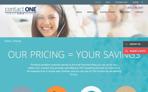 Screenshot of Pricing Page wetakecalls.com - Call Center Pricing, Call Center Quotes, Tucson Call Centers - captured Aug. 27, 2017