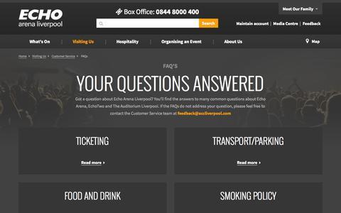 Screenshot of FAQ Page echoarena.com - FAQ's - Customer Service | Echo Arena Liverpool - captured Oct. 1, 2014