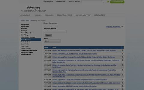 Screenshot of Press Page waters.com - News Releases : Waters - captured Oct. 22, 2018