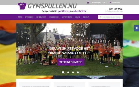 Screenshot of Home Page gymspullen.nu - Welkom bij de Gymkleding en Schoolshirt specialist! - captured Oct. 3, 2014