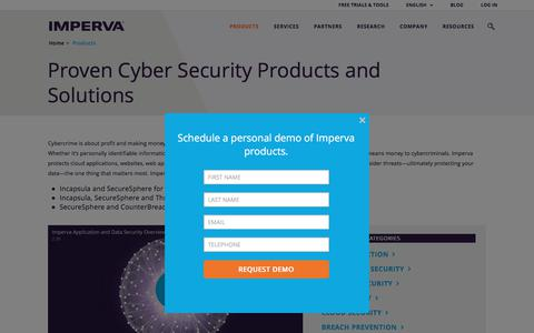 Screenshot of Products Page imperva.com - Proven Cyber Security Products and Solutions  | Imperva, Inc. - captured Oct. 28, 2017