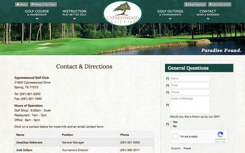 Screenshot of Contact Page Maps & Directions Page cypresswood.com - Cypresswood Golf Club | Public Houston Course | Spring, TX - Contact & Directions - captured April 18, 2017