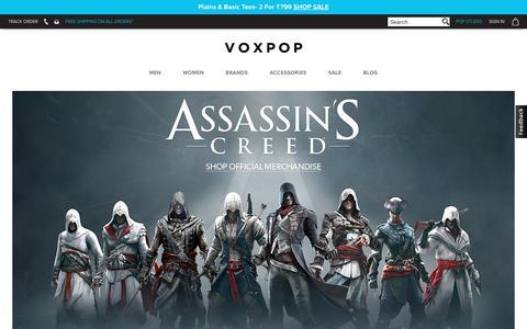 Screenshot of Home Page voxpop.com - VOXPOP   INDIA'S #1 POP CULTURE APPAREL BRAND - captured Oct. 28, 2017