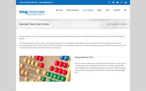 Screenshot of Case Studies Page tmgcorporate.com - Business Travel Case Studies how we deliver for our Clients - captured Sept. 30, 2014