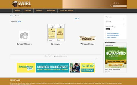 Screenshot of Products Page swirl-magazine.com - Products - captured Oct. 29, 2014