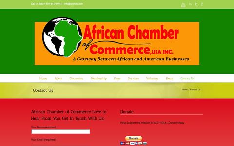 Screenshot of Contact Page accnola.com - African-American Chamber of Commerce | Contact Us - captured Oct. 4, 2014