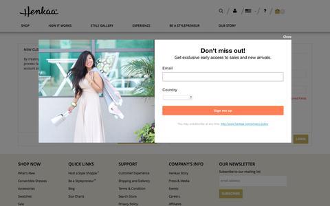 Screenshot of Login Page henkaa.com - Customer Login - captured Jan. 17, 2017