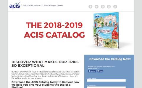 Screenshot of Landing Page acis.com captured March 13, 2017