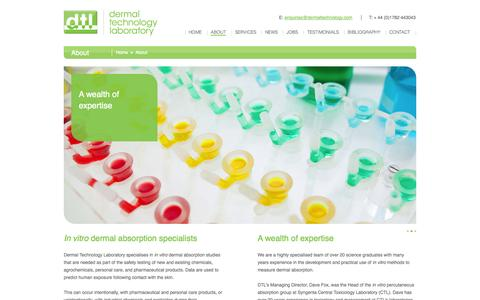Screenshot of About Page dermaltechnology.com - A highly specialised team | Dermal Technology Laboratory | About - captured Oct. 5, 2014