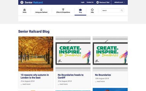 Screenshot of Blog senior-railcard.co.uk - Senior Railcard Blog - captured Sept. 22, 2018