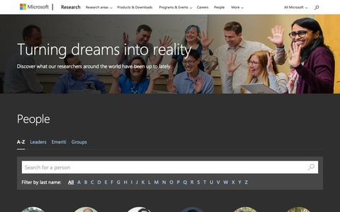 Screenshot of Team Page microsoft.com - People - Microsoft Research - captured Feb. 13, 2019