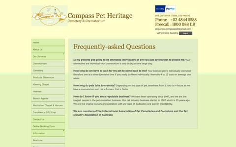 Screenshot of FAQ Page compasspet.com.au - Frequently-asked Questions | Compass Pet Heritage Cemetery and Crematorium - captured Oct. 2, 2014