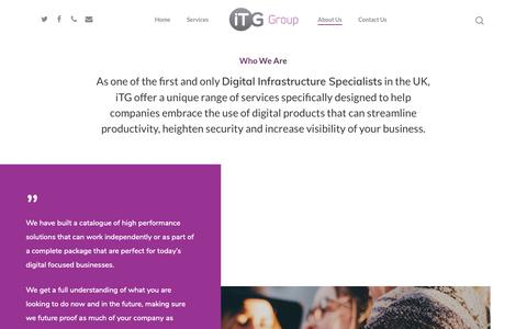 Screenshot of About Page itg.uk.com - About iTG Group - Digital Infrastructure Specialists in Macclesfield UK & India - captured Oct. 13, 2018