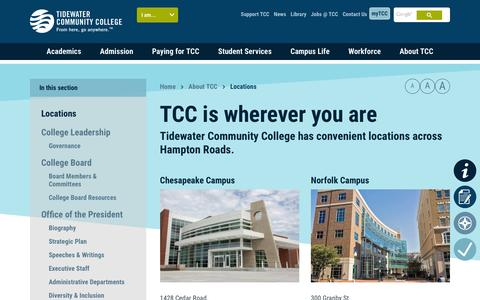Screenshot of Locations Page tcc.edu - TCC is wherever you are - - captured Feb. 11, 2016
