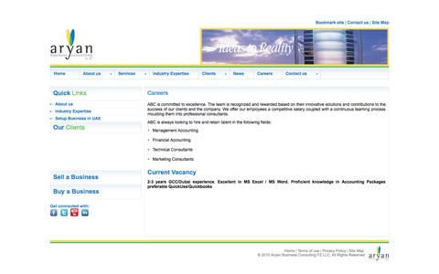 Screenshot of Jobs Page aryanconsulting.com - Careers - Aryan Business Consulting - captured Oct. 29, 2014